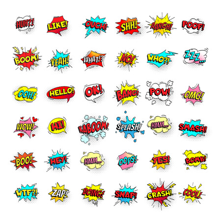 Ilustración de Comic bubbles. Cartoon text balloons. Pow and zap, smash wtf oops wow omg yeah poof boo and kaboom smash bang boom comics expressions. Speech bubble retro vector pop art stickers isolated sign set - Imagen libre de derechos