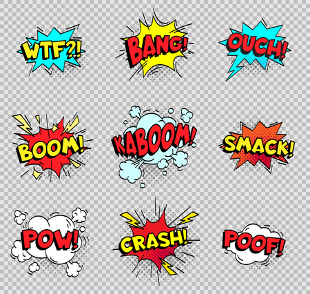 Ilustración de Comic speech bubbles. Cartoon explosions text balloons. Wtf bang ouch boom smack pow crash poof popping color burst comics expression retro vector shapes isolated sign collection - Imagen libre de derechos