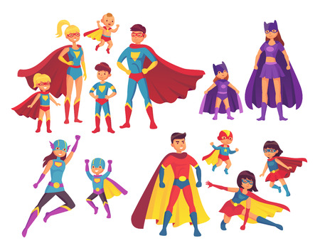 Ilustración de Superhero family characters. Superheroes character in costumes with hero cape silhouette for comics. Wonder mom, super dad and children boy girl kid heroes in mask and cloak isolated vector icon set - Imagen libre de derechos