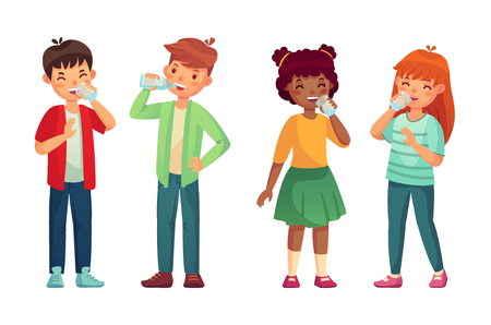 Illustration for Kids drink glass of water. Happy youth thirst boy and girl drinks. Children refreshing drinking hydration level care, fresh people youthful vector cartoon isolated icons illustration set - Royalty Free Image