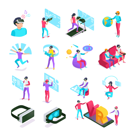 Illustration pour Digital entertainments VR cyberspace headset computer glass. Augmented future gadgets futuristic tech or virtual reality glasses display augmentation at isometric people vector isolated symbols set - image libre de droit