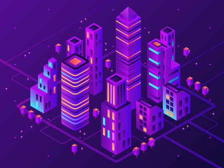 Illustrazione per Isometric neon town. Futuristic illuminated city, future megapolis highway illumination electrical construction and night business district building, modern cityscape 3d vector illustration - Immagini Royalty Free