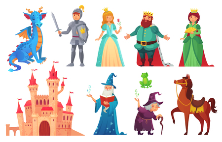 Illustration for Fairy tales characters. Fantasy knight and dragon, prince and princess, magic world queen and king with castle tale magic. Fairytale isolated cartoon vector icons set - Royalty Free Image