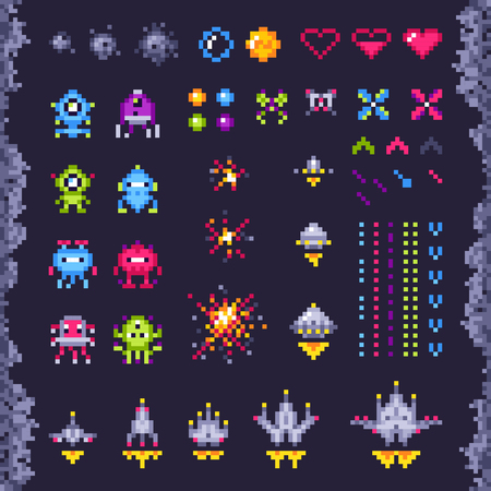 Illustration pour Retro space arcade game. Invaders spaceship, pixel invader monster and retro video games pixel art icons. Vintage computer 8 bits graphics pixel game isolated objects illustration set - image libre de droit