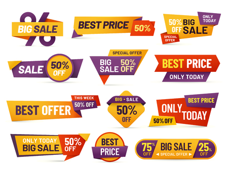 Illustration pour Retail sale tags. Cheap price flyer, best offer price and big sale pricing tag badge design. Limited sales offer label or store discount banner card isolated vector icons collection - image libre de droit