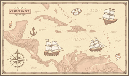 Illustration for Old caribbean sea map. Ancient pirate routes, fantasy sea pirates ships and vintage pirate maps. Old marine map, ancient nautical compass and ship. Geographical vector concept illustration - Royalty Free Image