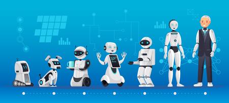 Ilustración de Robot generations. Robotics engineering evolution, robots ai technology and humanoid computer generation cartoon vector illustration - Imagen libre de derechos