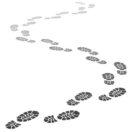 Ilustración de Walking away footsteps. Outgoing footprint silhouette, footstep prints and shoe steps going in perspective. Running shoe tread footprints vector illustration - Imagen libre de derechos