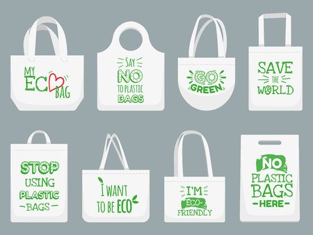 Illustration pour Eco fabric bag. Say no to plastic bags, polythene refuse ban slogan and textile shopping handbag. Shopper, ecological fabric package. Vector isolated illustration icons set - image libre de droit