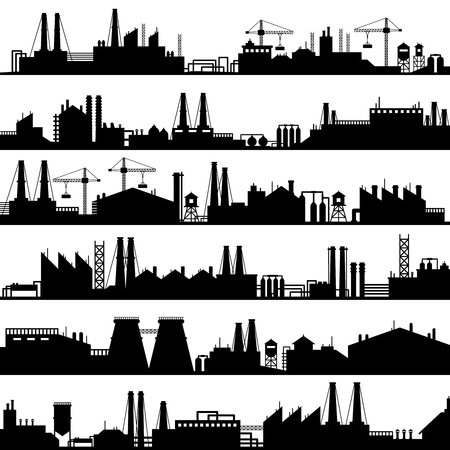 Ilustración de Factory construction silhouette. Industrial factories, refinery panorama and manufacture buildings skyline. Manufacturing industry, oil plant or environment refineries vector illustration set - Imagen libre de derechos