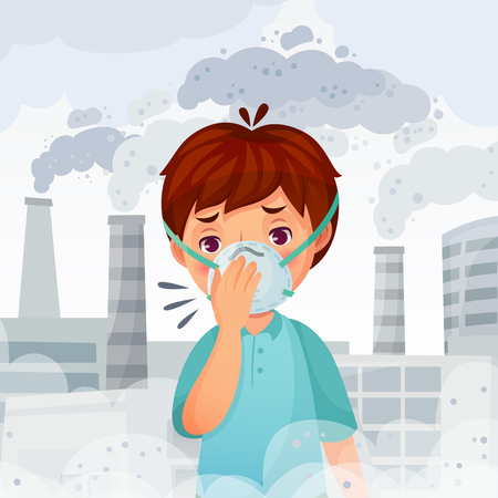 Ilustración de Boy wearing N95 mask. Dust PM 2.5 air pollution, young men breath protection and safe face mask. Fog danger, dirty smog or sick disease protect face mask cartoon vector illustration - Imagen libre de derechos