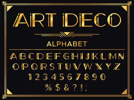 Ilustración de Art deco font. Golden 1920s decorative letters, vintage fashion typography and old gold alphabet vector set - Imagen libre de derechos