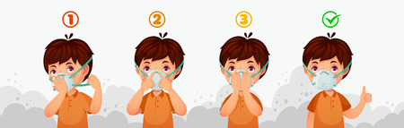 Illustrazione per Mask N95 instruction. Child air pollution protection, dust protective safety breathing masks and PM2.5 defence. Boy character wear dirty smog air safety mask cartoon vector illustration - Immagini Royalty Free