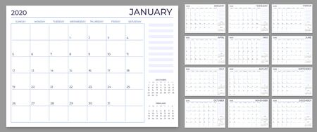 Illustration pour Monthly planner template. Year calendar notes grid, 2020 planners sheets and yearly scheduling calendars. Daily or week planner, date reminder lists, month planner vector set - image libre de droit