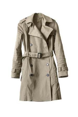 Photo for Elegant beige buttoned trenchcoat isolated over white - Royalty Free Image