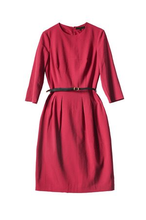 Foto de Red dress with leather belt isolated over white - Imagen libre de derechos