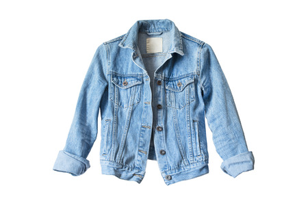 Foto de Blue denim jacket isolated over white - Imagen libre de derechos