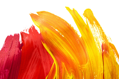 Photo pour Red and yellow brush strokes on white as a background - image libre de droit