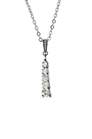 Foto de Diamond pendant hanging on silver chain isolated over white - Imagen libre de derechos