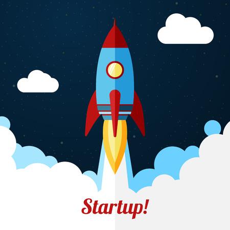 Ilustración de Space rocket launch. Concept for startup or release etc. - Imagen libre de derechos