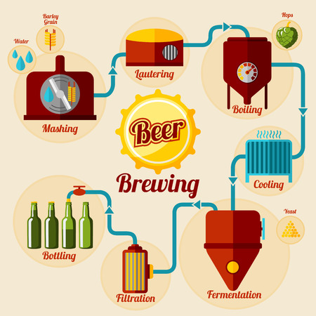 Illustration pour Beer brewing process infographic. In flat style. Vector illustration - image libre de droit