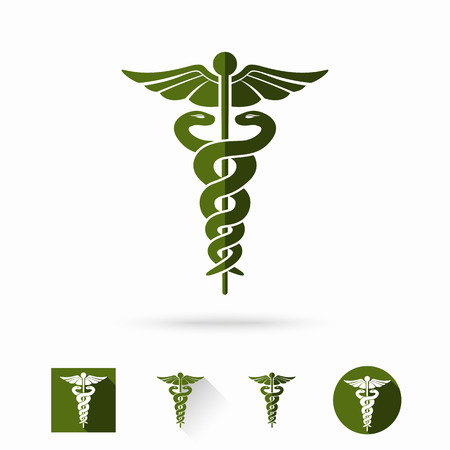 Illustration pour Caduceus - medical sign in different modern flat styles. Vector illustration - image libre de droit