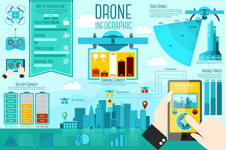 Illustration pour Set of modern air drones Infographic elements with icons, different charts, rates etc. With places for your text. Vector illustration - image libre de droit
