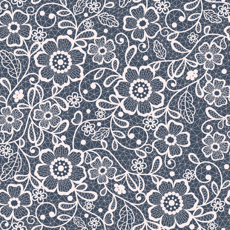 Illustration for seamless lace floral background - Royalty Free Image