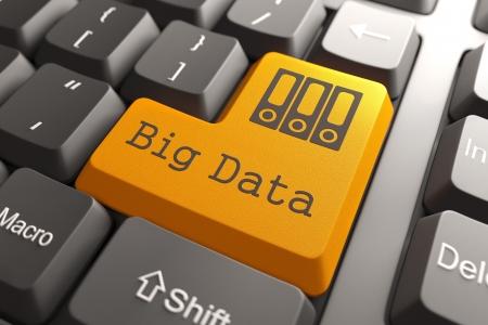 Photo pour Orange Big Data Button on Computer Keyboard. Information Concept. - image libre de droit