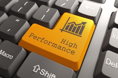 Foto de Orange High Performance Button on Computer Keyboard. Business Concept. - Imagen libre de derechos