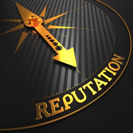 Foto de Reputation - Golden Compass Needle on a Black Field Pointing. - Imagen libre de derechos