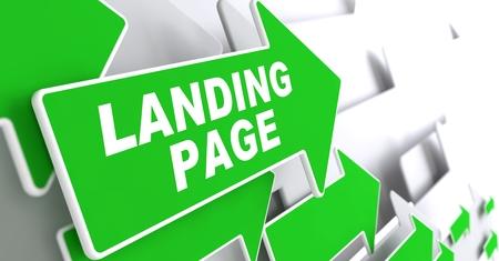 Foto de Landing Page  Green Arrows with Slogan on a Grey Background Indicate the Direction  - Imagen libre de derechos