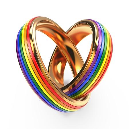 Foto de Wedding Rings with Gay Symbols  Isolated on White. - Imagen libre de derechos