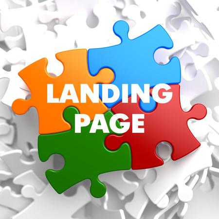 Foto de Landing Page  on Multicolor Puzzle on White Background. - Imagen libre de derechos