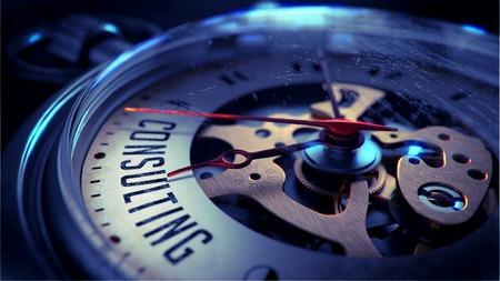 Photo pour Consulting on Pocket Watch Face with Close View of Watch Mechanism. Time Concept. Vintage Effect. - image libre de droit