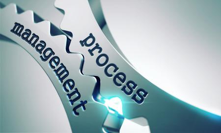 Photo pour Process Management on the Mechanism of Shiny Metal Gears. - image libre de droit