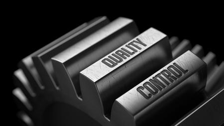 Foto de Quality Control on the Metal Gears on Black Background. - Imagen libre de derechos