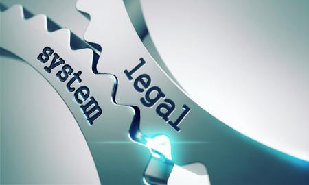 Photo pour Legal System on the Mechanism of Metal Cogwheels. - image libre de droit