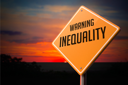Photo for Inequality on Warning Road Sign on Sunset Sky Background. - Royalty Free Image