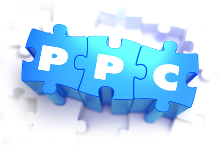 PPC - Text on Blue Puzzles on White Background. 3D Render.