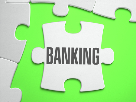 Banking - Jigsaw Puzzle with Missing Pieces. Bright Green Background. Close-up. 3d Illustration.