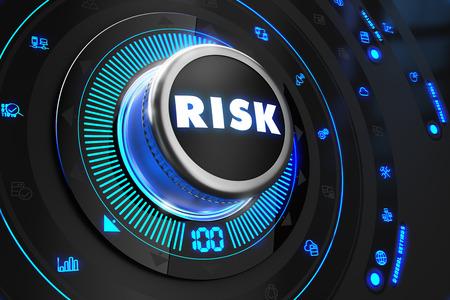 Photo pour Risk Controller on Black Control Console with Blue Backlight. Improvement, regulation, control or management concept. - image libre de droit