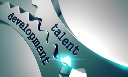 Photo pour Talent Development on the Mechanism of Metal Cogwheels. - image libre de droit