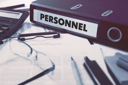 Photo for Office folder with inscription Personnel on Office Desktop with Office Supplies. Business Concept on Blurred Background. Toned Image. - Royalty Free Image