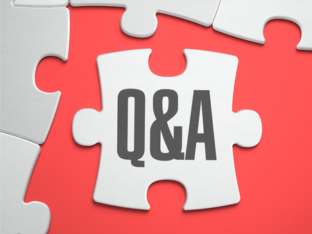 Photo for Q&A - Question and Answer - Text on Puzzle on the Place of Missing Pieces. Scarlett Background. Close-up. 3d Illustration. - Royalty Free Image