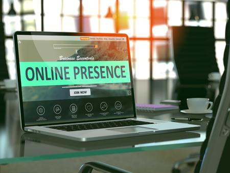 Foto de Modern Workplace with Laptop showing Landing Page with Online Presence Concept. Toned Image with Selective Focus. 3D Render. - Imagen libre de derechos