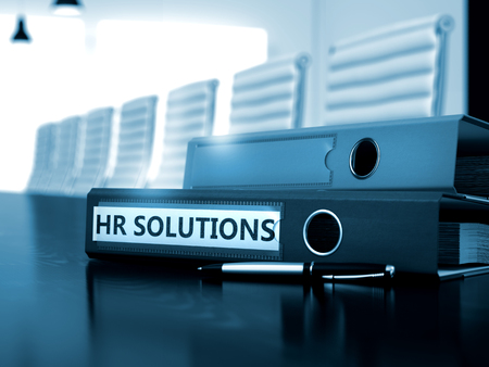 Photo for HR Solutions. Concept on Toned Background. HR Solutions - Ring Binder on Wooden Desktop. HR Solutions - Concept. HR Solutions - Business Concept on Toned Background. 3D. - Royalty Free Image