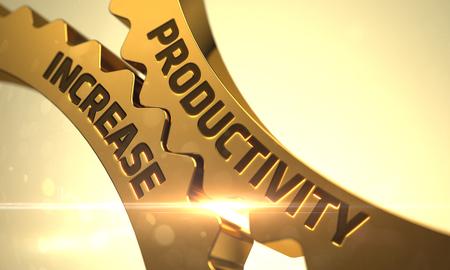 Foto de Productivity Increase on Mechanism of Golden Metallic Cogwheels with Lens Flare. Golden Metallic Cogwheels with Productivity Increase Concept. Productivity Increase on Golden Metallic Gears. 3D. - Imagen libre de derechos