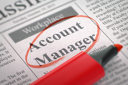 Photo pour Account Manager - Vacancy in Newspaper, Circled with a Red Marker. Account Manager. Newspaper with the Vacancy, Circled with a Red Highlighter. Blurred Image. Selective focus. Hiring Concept. 3D. - image libre de droit