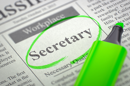 Photo for Secretary - Small Ads of Job Search in Newspaper, Circled with a Green Marker. Blurred Image. Selective focus. Job Seeking Concept. 3D Illustration. - Royalty Free Image
